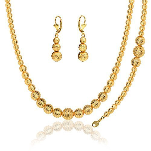 Lovely Ball Set Stamp 18K Gold Plated Party Necklace &Bracelet &Earrings For Women NB60076