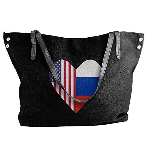 Half Half Bag Black Flag Tote Women's Handbag Large Love Flag Hand Heart Canvas Shoulder Russia USA 8x6XUq