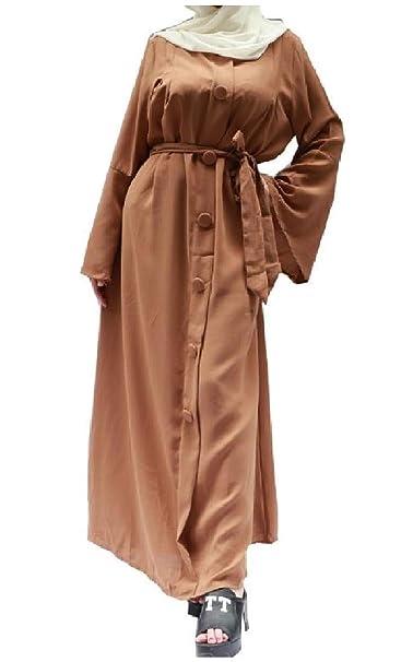 Lejorce Túnicas de Trompeta Casual para Mujer Arab A Line Vestidos de musulmán Batas de otoño: Amazon.es: Ropa y accesorios