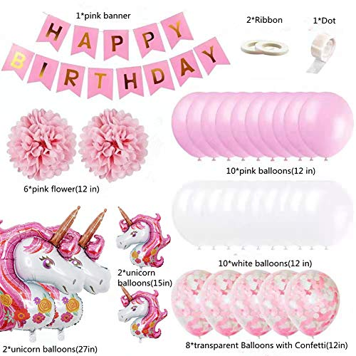 Unicorn Balloons Birthday Party Decorations Pink Unicorn Theme Birthday Party Supplies Kit for Baby Girls Room Happy Birthday Banner with Pink Unicorn Balloons Tissue and Foil Balloons Party Favors
