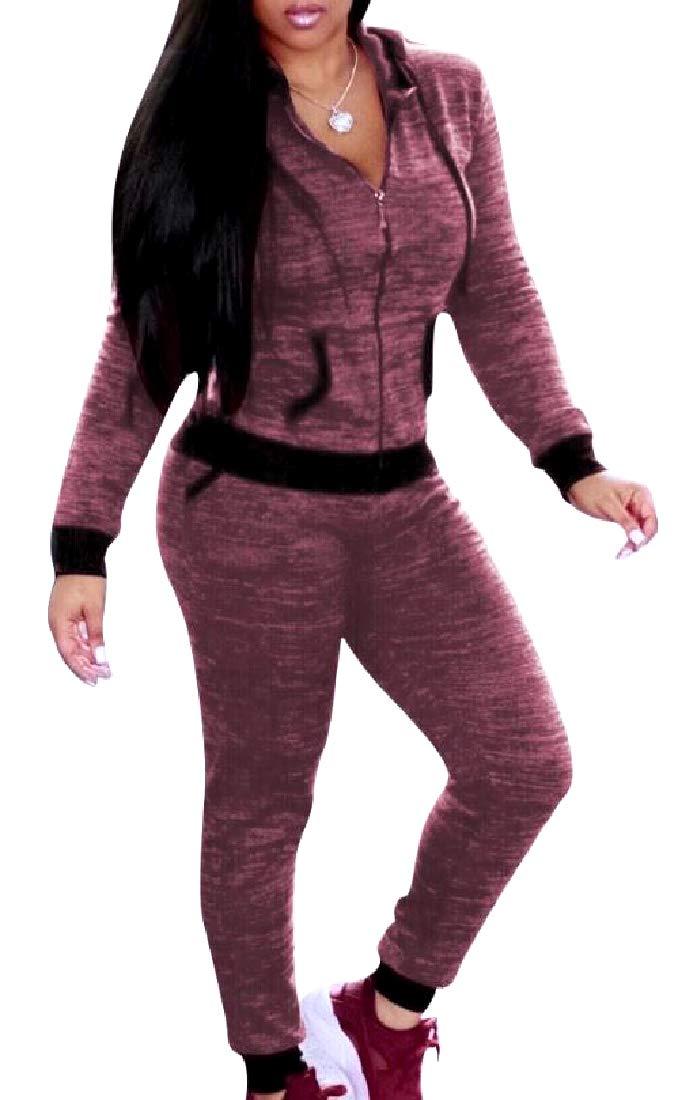 HUWAYI Women Nightclub Relaxed-Fit Jersey Jacket Sweatpants Set