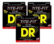 DR Strings MT-10 Medium Tite-Fit Nickel-Plated Electric Guitar Strings 3-Pack