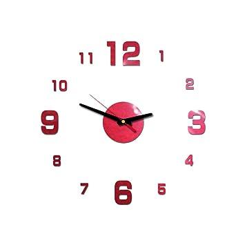 HONG98 Hogar y cocina Reloj de Pared Interior silencioso 3D Reloj de Etiqueta de Pared con