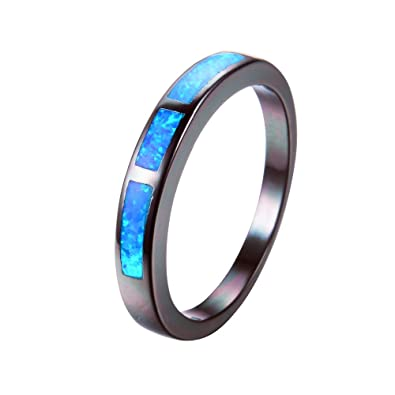 b5704276d8 WOWJEW Geometric Ocean Blue Fire Opal Ring Black Gold Filled Wedding Engage Rings  Jewelry 6.0