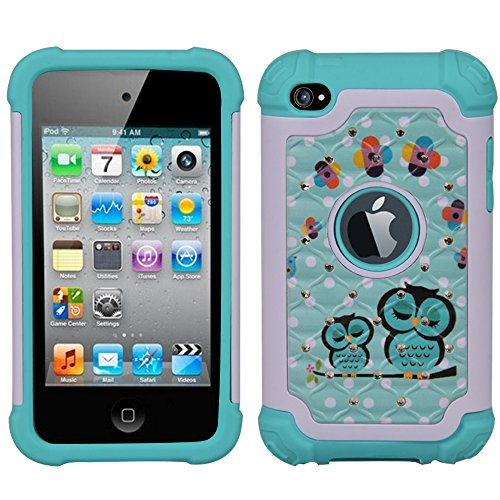 iPod 4 Case, iPod Touch 4 Case, MagicSky [Shock Absorption] Studded Rhinestone Bling Hybrid Dual Layer Armor Defender Protective Case Cover For iPod Touch 4th Generation - Owl