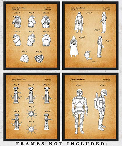 Original Star Wars Action Figures Patent Art - Set of Four Poster Prints (8 x 10) Unframed - Unique Wall Art Decor for Home, Office & Man Cave - Make Great Star Wars Gifts Under $20 for All Fans
