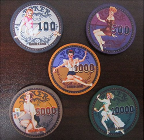 High Value Vintage SEXY PIN-UP GIRLS Poker Casino Chip Lot Golf Ball Markers Office Decor (Casino Poker Girl)