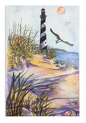 (Lighthouse Beach Scene Notecards and Envelopes - Set of 8 - Blank inside )