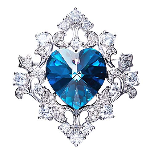 Aokarry Jewelry Women Alloy Brooch Pin Diamond Brooches Blue