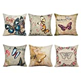 Top Finel Painting Butterfly And Flower Throw Pillow Case Cotton...