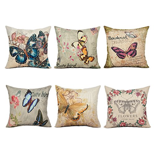 Top Finel Painting Butterfly And Flower Throw Pillow Case Cotton Linen Cushion Cover Traditional Style for Home Sofa Bed Set of 6, 18x18 Inch (Sofa Set Style)