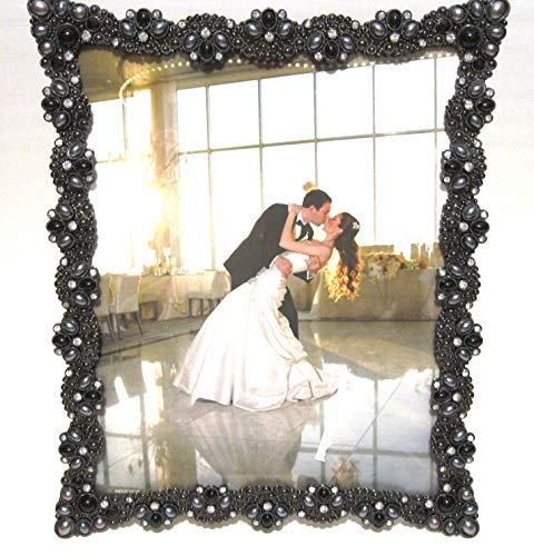 8 X10 Black Tone Metal Onyx Gray Imitation Pearls and Crystals Picture Frame