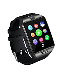 Bluetooth Fitness Tracker Anti-lost Smart Watch Q18,Prevent sweat ,Health tracking,Wearable Equipment with Camera TF/SIM Card Slot for Android and iso Phones (black)