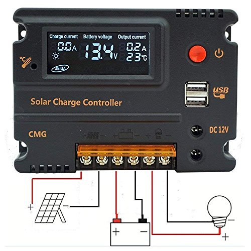 Fisters 20A 12V/24V LCD Solar Panel Battery Regulator Charge Intelligent Controller Overload Protection Temperature Compensation by Fisters