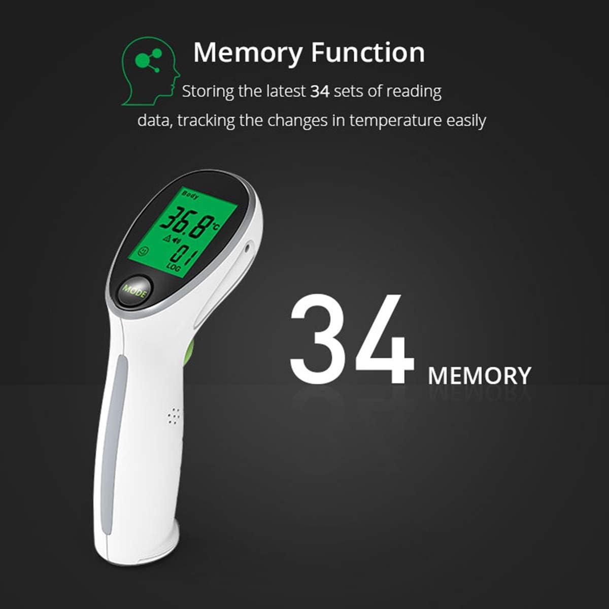 Multifunktionsobjekt BANESE Ber/ührungsloses Stirnthermometer Und Fl/üssigkeitstemperaturmessung Mit Ton Und Licht Warnung 34 Speichers/ätze
