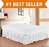 How Long Is a King Size Bed Elegant Comfort Luxurious Premium Quality 1500 Thread Count Wrinkle and Fade Resistant Egyptian Quality Microfiber Multi-Ruffle Bed Skirt - 15inch Drop, Queen, White