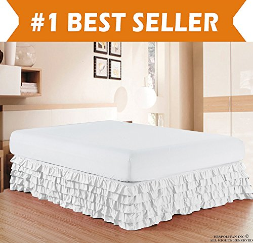 Elegant Comfort Luxurious Premium Quality 1500 Thread Count Wrinkle and Fade Resistant Egyptian Quality Microfiber Multi-Ruffle Bed Skirt - 15inch Drop, King, White