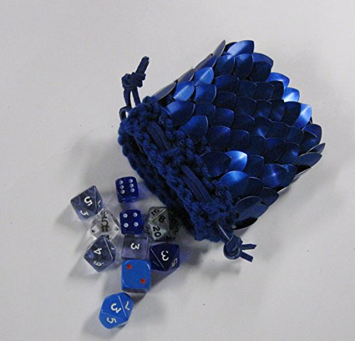 Scalemail Dice Bag in knitted Dragonhide Armor- Blue - Small - 3.5