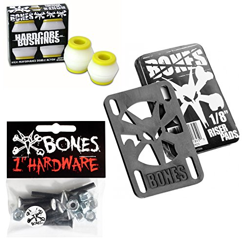 "Bones Skateboard Bushings Med 91 White with Riser Pads + 1"" Phillips Hardware"