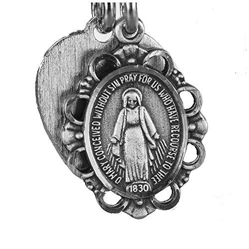 religieux Bracelet en étain, St. Mary, Faith Bracelet, Médaille miraculeuse avec charm en forme de cœur Argent, 23/10,2cm de diamètre