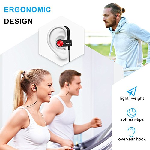 Large Product Image of Bluetooth Headphones Wireless for Running sport Earbuds with Mic iphone samsung Earphones Noise Cancelling Headset True HD Sound Stereo Earpiece CSR 8645 IPX5 Waterproof Sweetproof HELME (black)