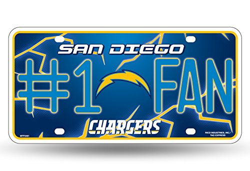 NFL San Diego Chargers #1 Fan Metal Auto Tag