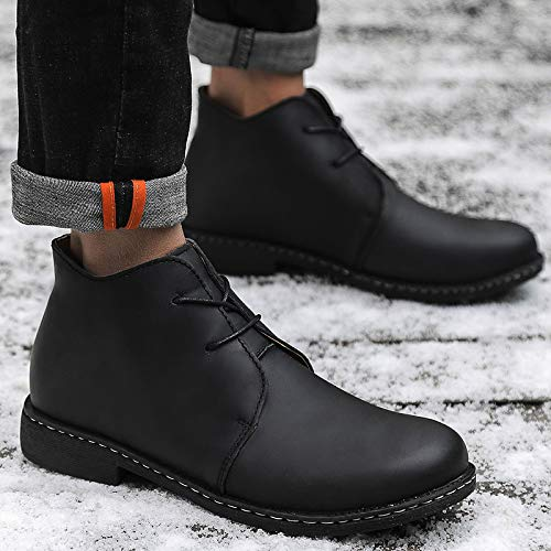 Retro A Trekking Da Black Chelsea Uomo Lace Smart Dealer Punta Scarpe In Desert Stivali Pelle Caviglia Higher Rotonda Alla Up Mid Boot xYYR1wrq