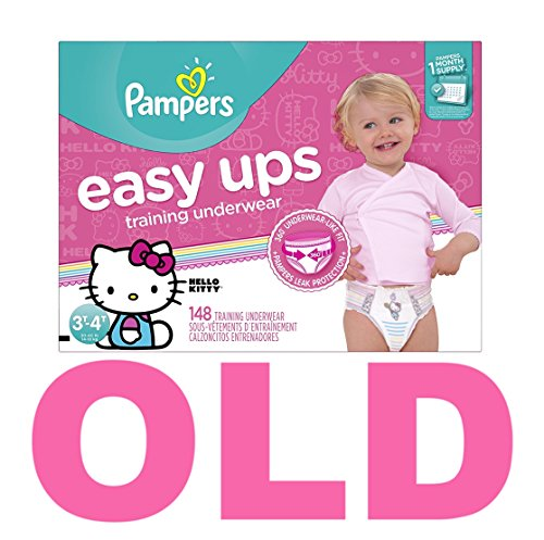 Pampers Easy Ups Training Pants Pull On Disposable Diapers for Girls Size 5 (3T-4T), 148 Count, ONE MONTH SUPPLY by Pampers (Image #1)