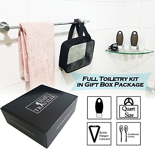 TSA approved Toiletry Bag Squeezable Silicone Travel Bottles Set | Clear Leak Proof Refillable Containers for Liquids (BPA Free, 3.3 OZ) | Toothbrush covers with Hanging Strap | Quart Sized Air Carry- by Simpletraveler (Image #8)