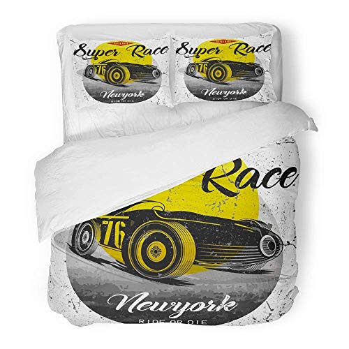 MIGAGA 3 Piece Duvet Cover Set Brushed Microfiber Fabric Engine Vintage Race Car for Old School Motor York Adventure Brooklyn Chopper Breathable Bedding Set with 2 Pillow Covers Full/Queen Size