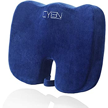 CYLEN Home-Memory Foam Bamboo Charcoal Infused Ventilated Orthopedic Seat Cushion - Blue Washable & Breathable Cover
