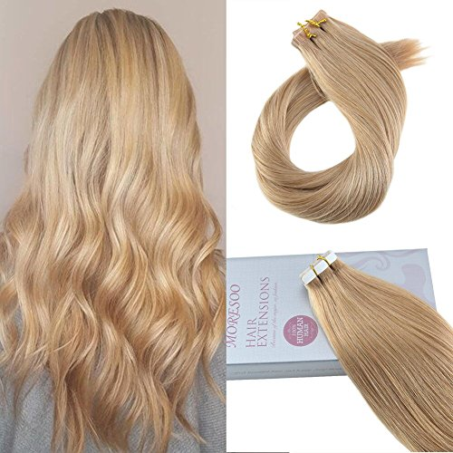 Moresoo 18 Inch Tape in Human Hair Unprocessed Remy Human Hair Real Brazilian Hair Invisible Caramel Blonde Color #27 Seamless Skin Weft Hair Extensions (Human Hair Skin)