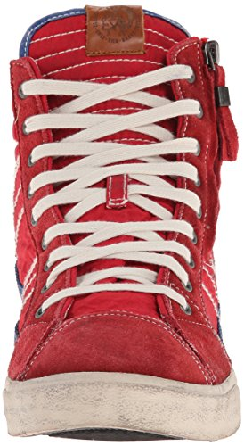 Diesel Heren Velours Snaar Nylon Fashion Sneaker Tango Rood / Donkerblauw