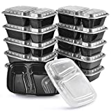 Meal Prep Containers, 10Pack | 34oz, 2 Compartment Food Prep Containers, Food Storage Containers with Lids, Reusable Bento Box - BPA Free, Stackable/Microwave/Dishwasher/Freezer Safe By KICHEIF
