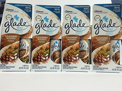 Glade Sense & Spray Automatic Freshener Refill - Cashmere Woods - Concentrated Refill Lasts For Weeks - Net Wt. 0.43 OZ (12.2 g) Each - Pack of 4 Refills