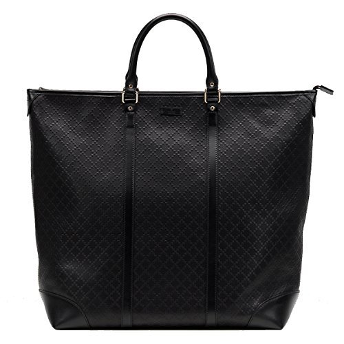 Gucci Diamante Leather Large Zip Top Unisex Tote Bag 308896, Black (Gucci Tote Handbag Bag Purse)