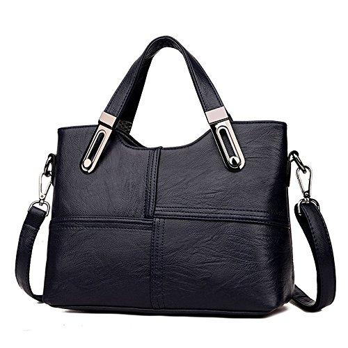 Sesgó 28x23x11 Suave Nuova Blue Inclinato Handbag Nuevo Bolso 5cm Della Blu In De Nero Borsa Lady's 5cm Signora Morbida negro Pelle Cuero 28x23x11 nqIX8W6wFw