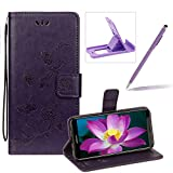 Strap Leather Case for Huawei Y5 2018,Dark Purple Wallet Leather Cover for Huawei Y5 2018,Herzzer Classic Pretty Butterfly Lotus Drawing Embossed Magnetic PU Leather Foldable Stand Card Holders Smart Telephone Case with Soft Inner