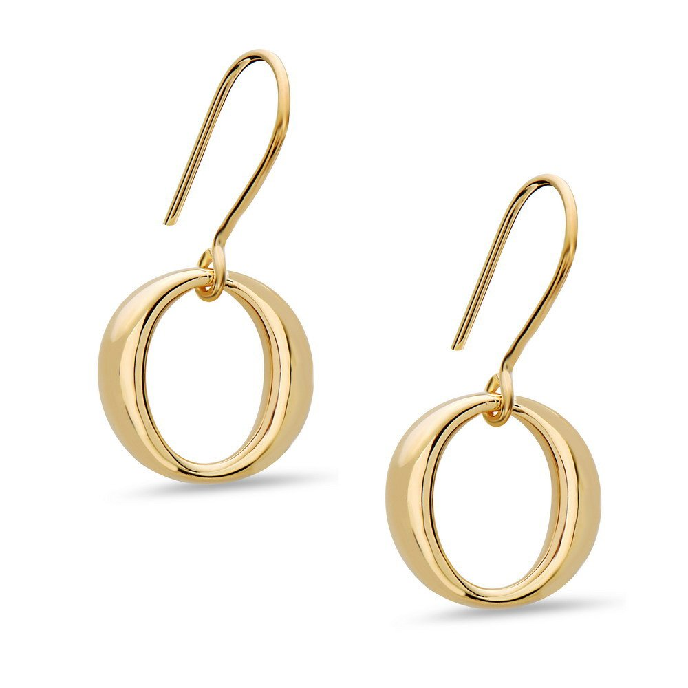 Sterling Silver Polished Circle Dangle Drop Earrings -Gold or Silver Color - 100% Hypoallergenic (Gold)