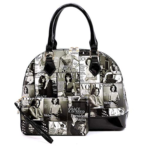 r collage dome satchel bag purses bowling bag Michelle Obama bags with wallet set 2 in 1 (GY/BK) ()