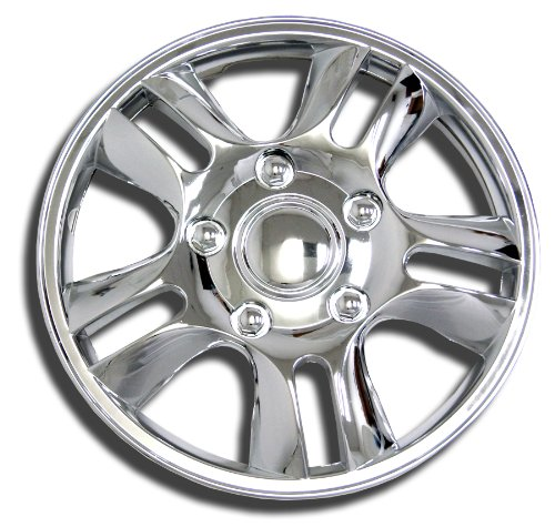 TuningPros WSC-006C15 Chrome Hubcaps Wheel Skin Cover 15-Inches Silver Set of 4