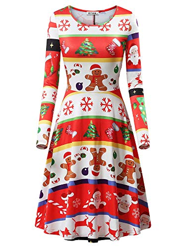 - VETIOR Ugly Christmas Dress for Women, Gingerbread Man Dress Long Sleeve Party Dresses
