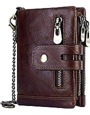 HorsePower 100% Genuine Leather Men Wallet Coin Purse Small Mini Card Holder Chain Men Wallet