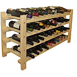 DisplayGifts Wine Rack Stackable Storage Stand, Solid Wood Display Shelves (40 Bottle Capacity)