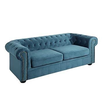Sofá Chester tapizado de Terciopelo Azul de 3 plazas clásico ...