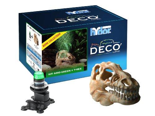 Hydor Deco Ornament Kit, T-Rex Skull, Green LED ()
