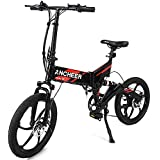 """Ancheer 2018 Newest Folding Electric Bike with Removable 36V 8Ah LG Battery, Foldable Electric Bicycle with 20"""" Aluminum Alloy Integrated Wheel, Full Suspension and Shimano Gear"""