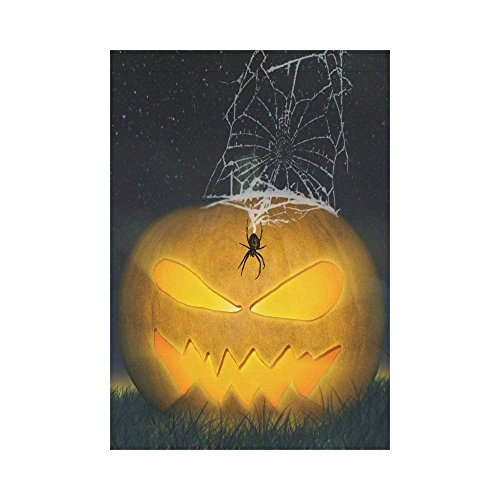 Pingshoes Evil Pumpkin with Spider Web Polyester Garden Flag Outdoor Banner 28 x 40 inch, Spooky Halloween Decorative Large House Flags for Party Yard Home Decor -