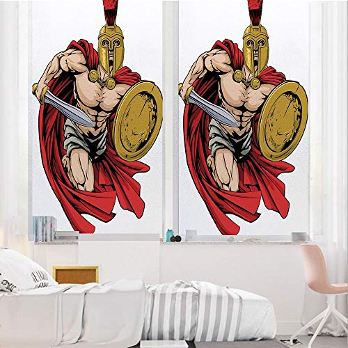 Toga Party 3D No Glue Static Decorative Privacy Window Films, Spartan Warrior with Sword and Shield Ancient Legendary Greek World Graphic,24