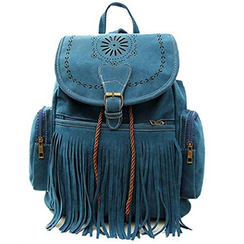 TrendsGal Women's Vintage Engraving and Fringe Design Satchel Backpack(Blue)